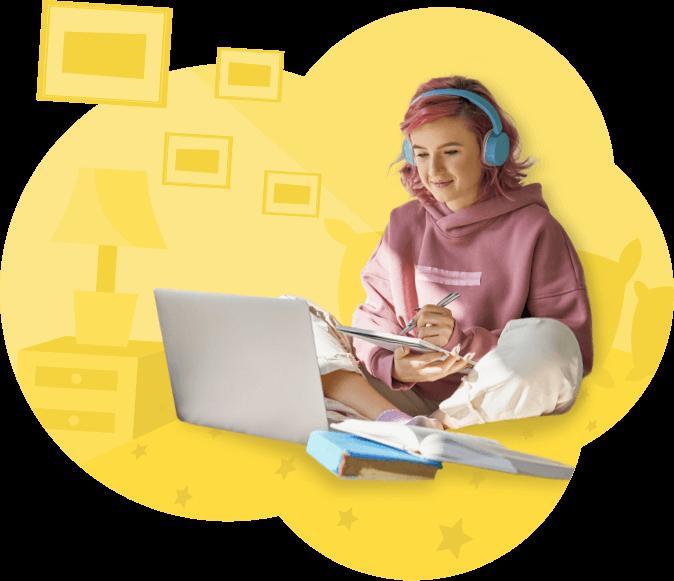 chica joven con laptop estudiando