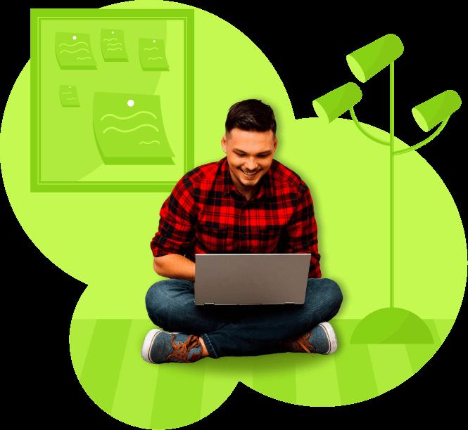 hombre joven con laptop estudiando