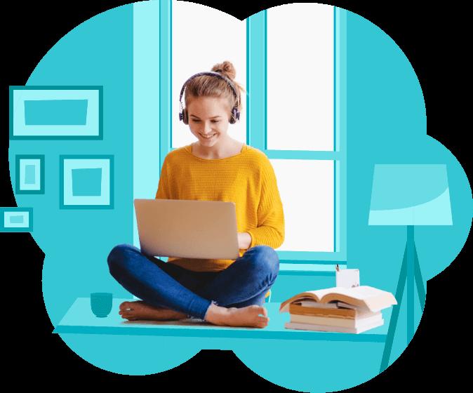 joven con laptop estudiando en ventana