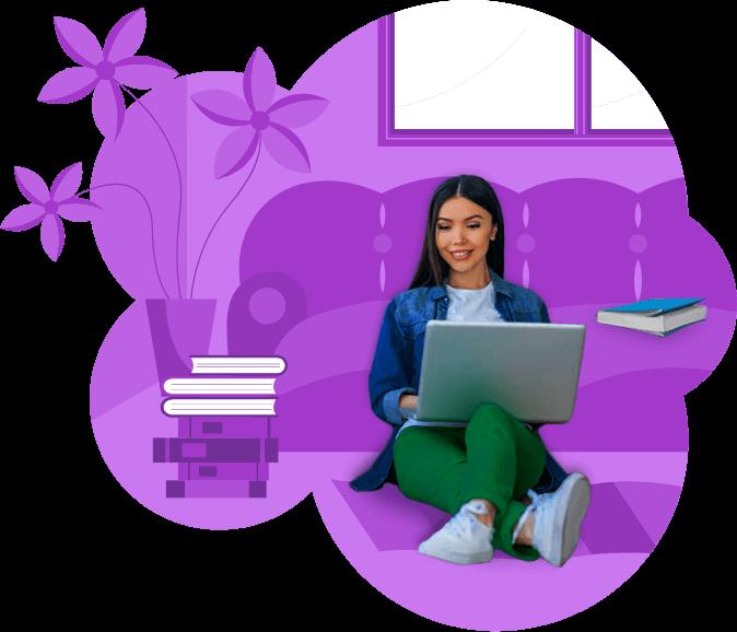 mujer joven con laptop estudiando